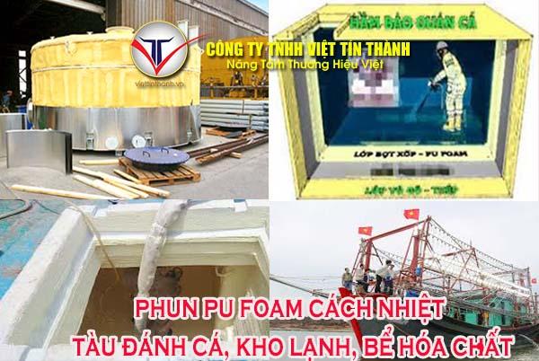 Phun pu foam cách nhiệt tàu đánh cá, kho lạnh, xe lạnh