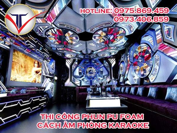 Thi công phun Pu Foam cách âm phòng karaoke